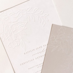 KAITLIN & CHRISTIAN / custom illustrated florals in blind press and nude letterpress text