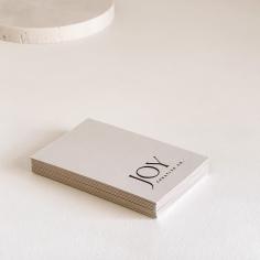 JOY CREATIVE CO / business cards in black letterpress on 700gsm nude