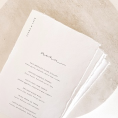 LAURA & JACK / menus in black digital on handmade paper