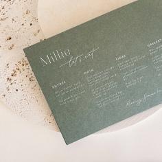 MADDIE & JOEL / white digital print menus on khaki green
